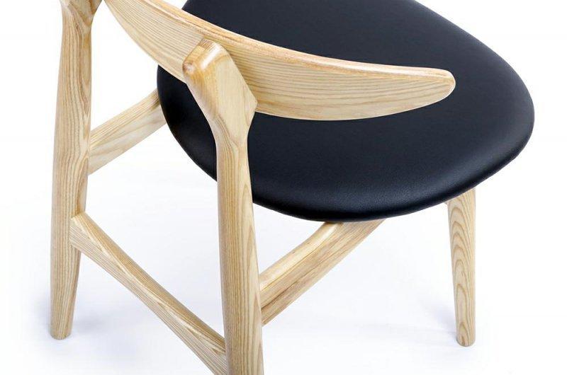 Krzesło RETRO naturalne - drewno, ekoskóra