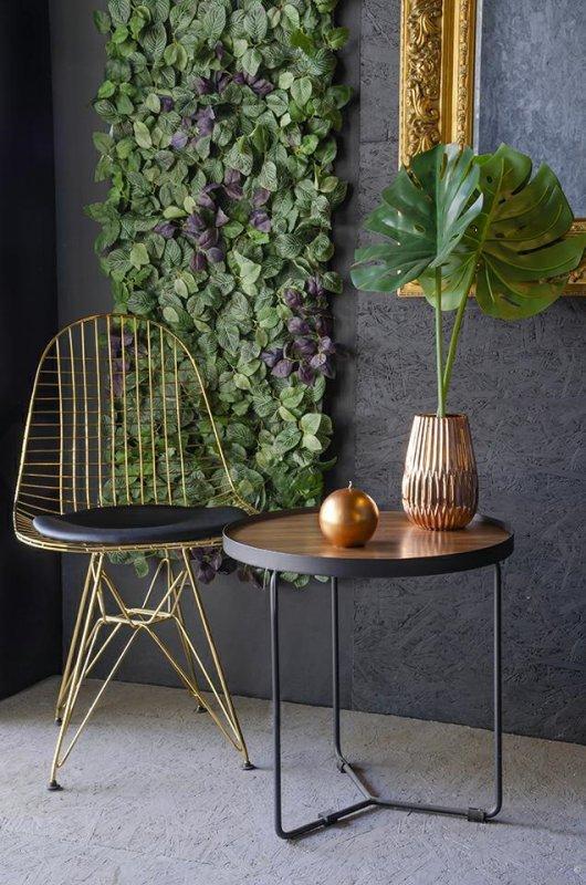 Krzesło DSR NET GOLD złote - czarna poduszka, metal