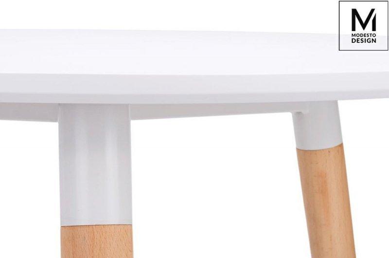 MODESTO stół NOLAN FI 80 biały - blat MDF, nogi bukowe
