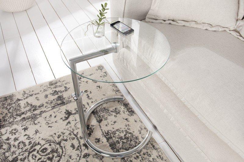 INVICTA stolik EFFECT z regulacją  wysokości - chrom, szkło hartowane