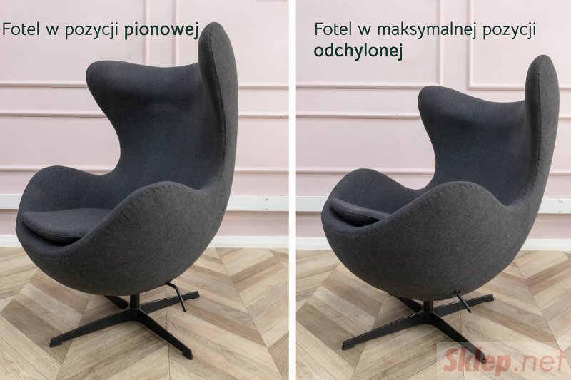 Fotel EGG CLASSIC szary popielaty.18 - wełna, podstawa aluminiowa