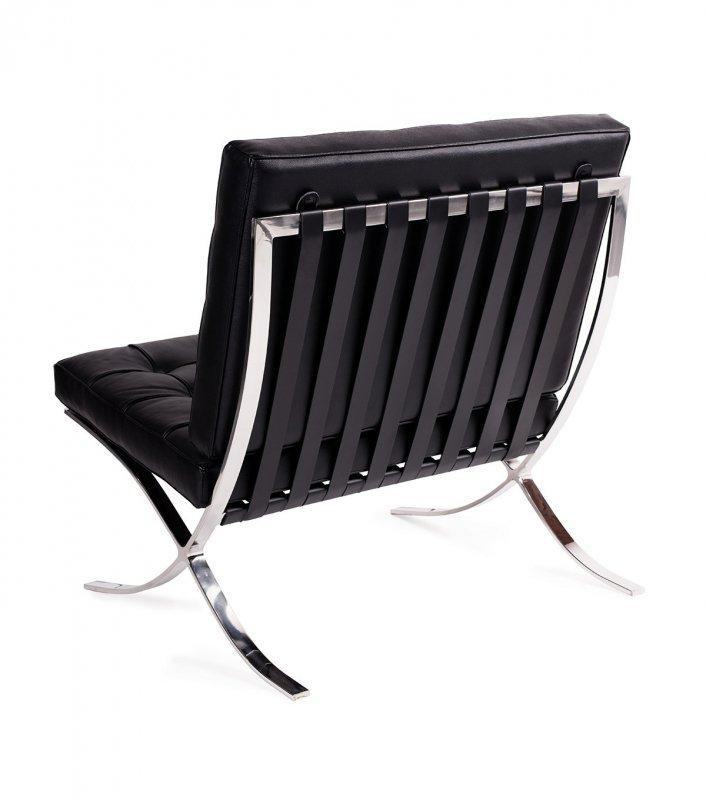 Fotel BARCELON czarny - skóra naturalna, stal polerowana