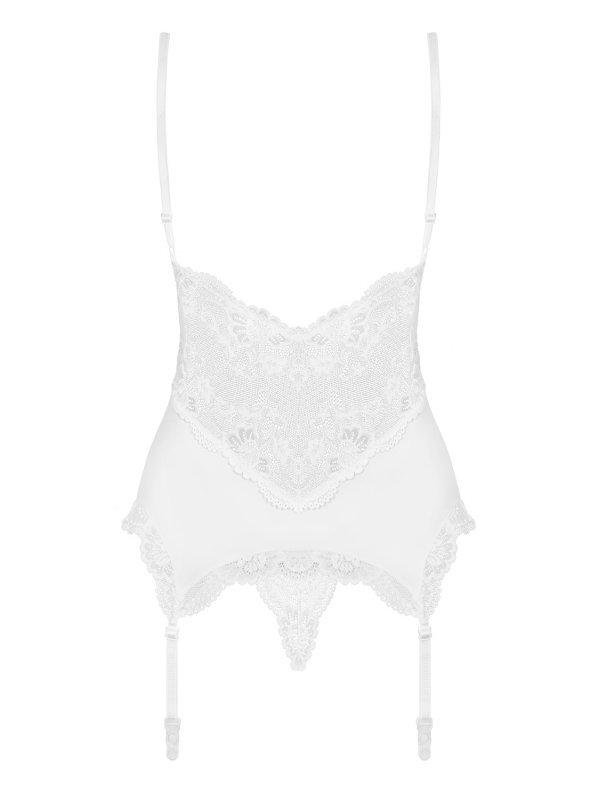 Bielizna-810-COR-2 gorset i stringi biały  S/M