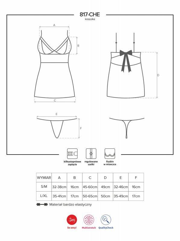 Bielizna-817-CHE-1 koszulka i stringi  S/M