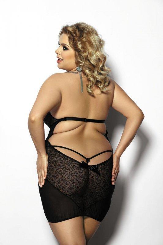 Amysa black chemise XXL+ (czarna halka)