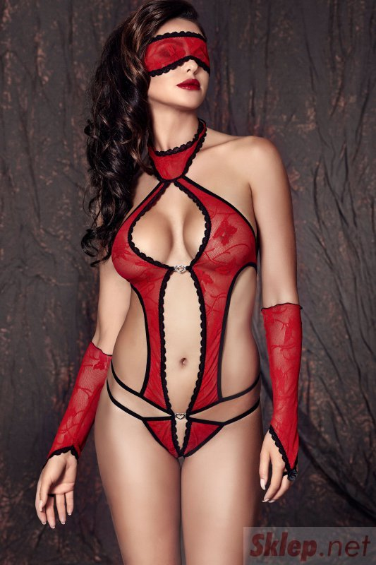 Bielizna-Ashley red body M (czerwone body)