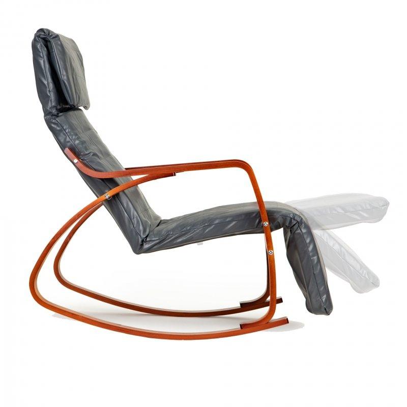 Fotel bujany fiński na biegunach leżak z podnóżkiem - ekoskóra