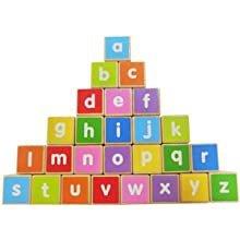Drewniany pociąg duże klocki edukacyjne alfabet Ecotoys