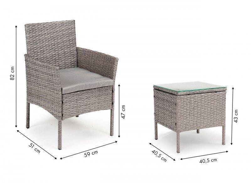 Meble ogrodowe zestaw na taras 2 fotele stolik ratan