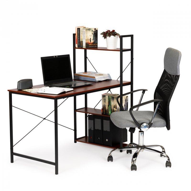 Biurko komputerowe drewniane regał z półkami loft