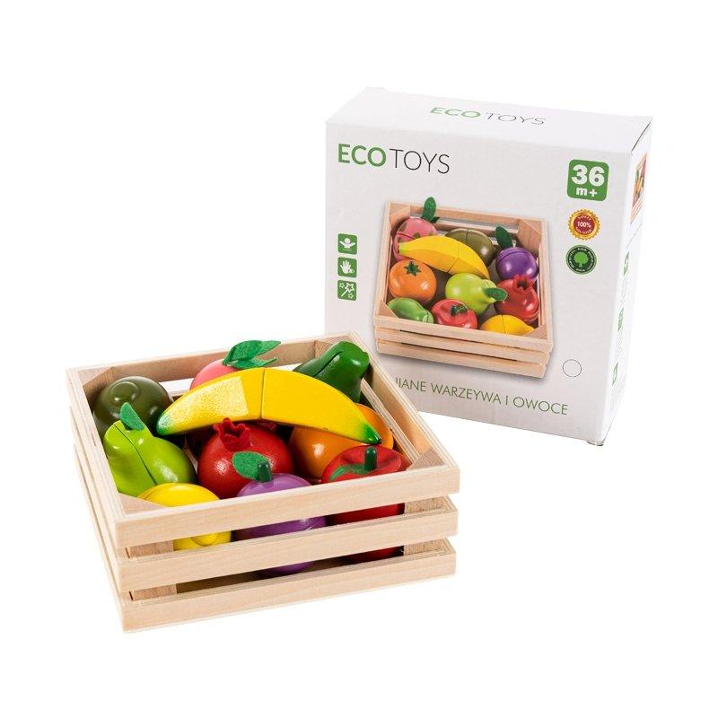 Drewniane owoce do krojenia na magnes Ecotoys
