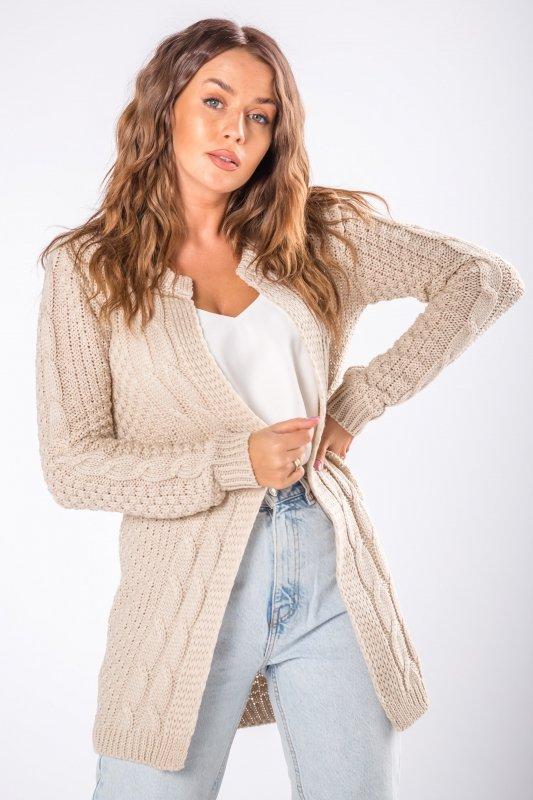 niezapinany sweter z warkoczowym splotem z przodu