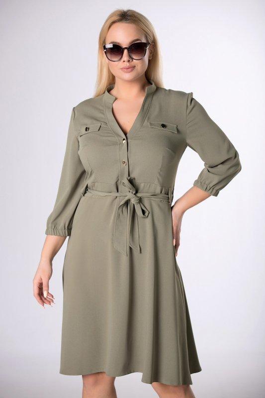 koszulowa sukienka z paskiem