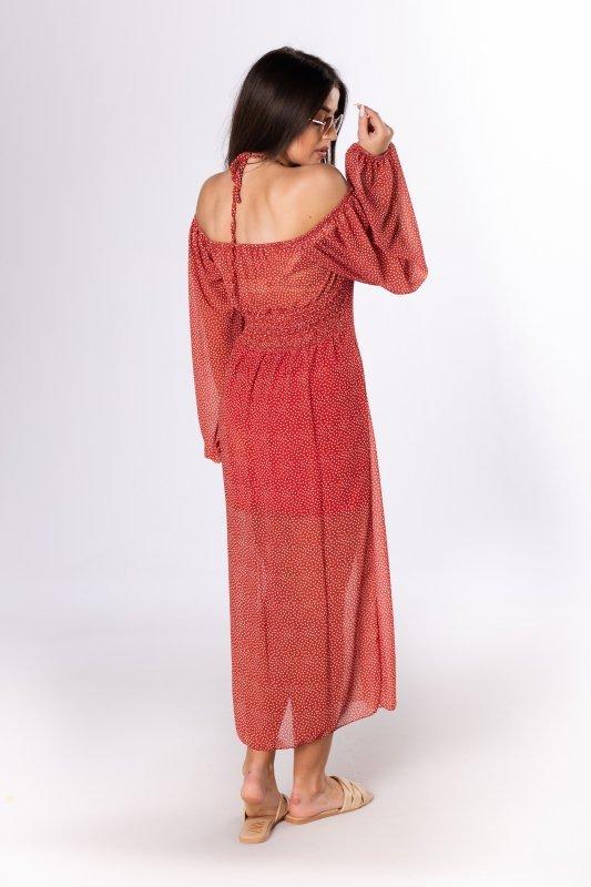 sukienka midi z bufiastymi rękawami