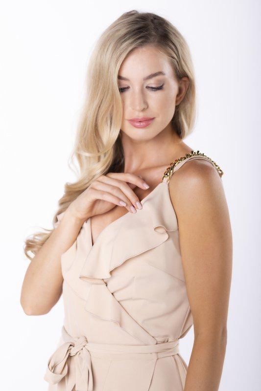 kopertowa sukienka z łańcuszkami