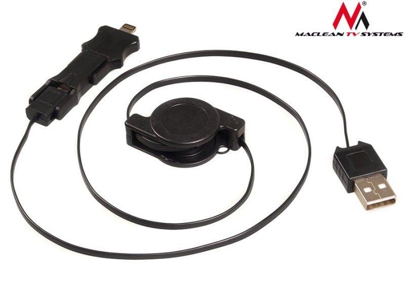 Kabel USB Iphone Maclean, 5/Micro, 5p/Miini, Zwijany, Czarny, MCTV-730