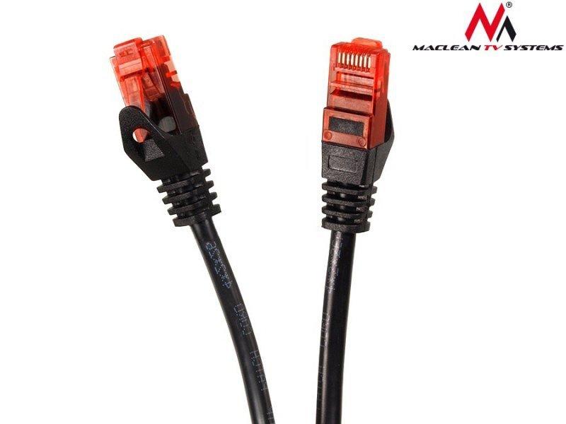 Przewód kabel patchcord UTP cat6 wtyk-wtyk 7,5m czarny Maclean MCTV-756