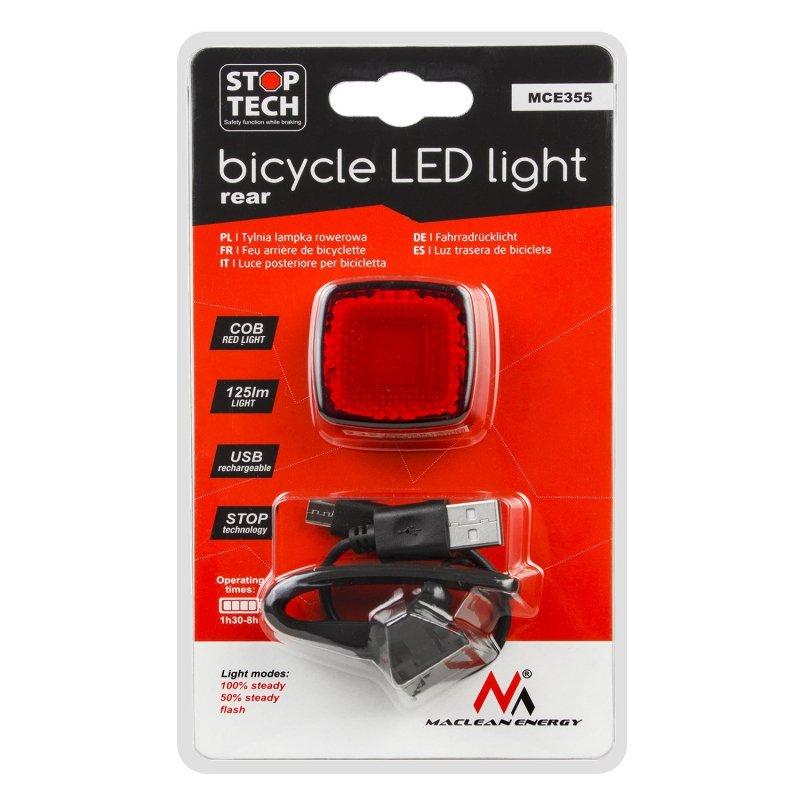 Lampka rowerowa tylna USB  AUTO STOP sensor zmierzchu  Maclean Energy MCE355 COB LED max.125lm acu 450mAh