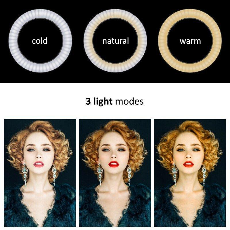 """Lampa LED Maclean, Pierścieniowa ze statywem, 1,1m, 10"""", 12W, Samowyzwalacz, Bluetooth, Możliwość zmiany barwy 3000K-6500K oraz"""