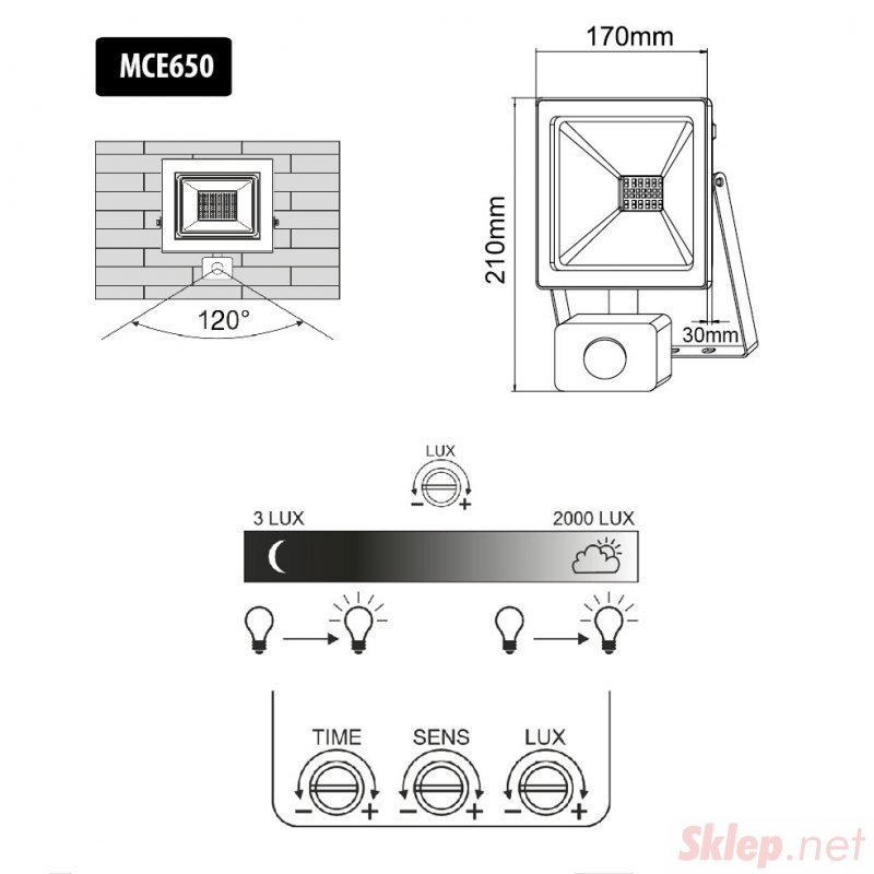 Naświetlacz LED z czujnikiem ruchu Maclean, slim 50W, 4000lm, barwa zimna biała (6000K), IP44, MCE650 CW PIR