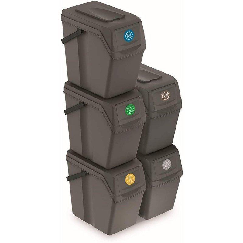 Zestaw koszy do segregacji Sortibox 5x25L szare ISWB25S5