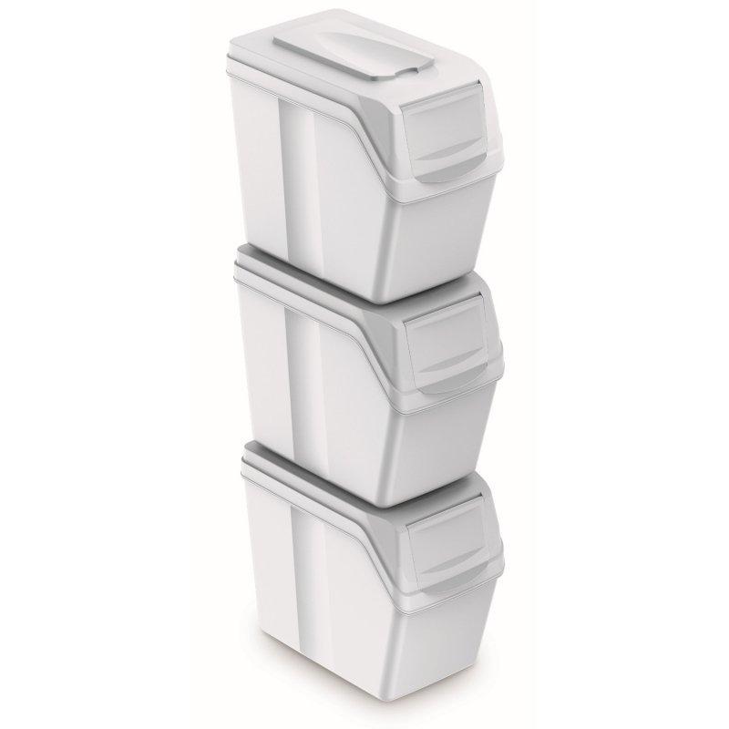 Zestaw koszy do segregacji Sortibox 3x20L białe ISWB20S3