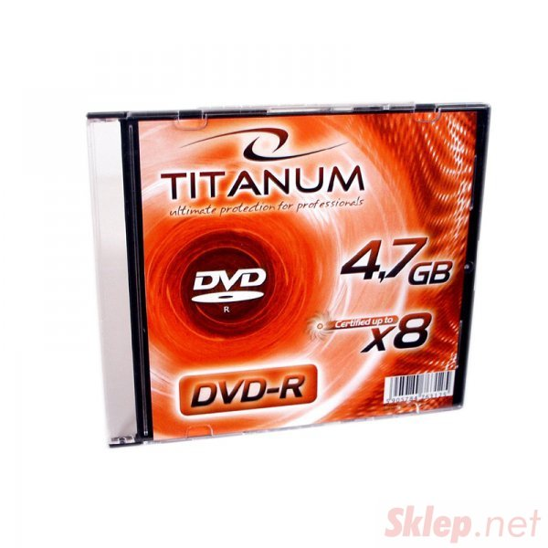 1073 DVD-R 4,7GB X8 - Slim Case 1 sztuka Titanum