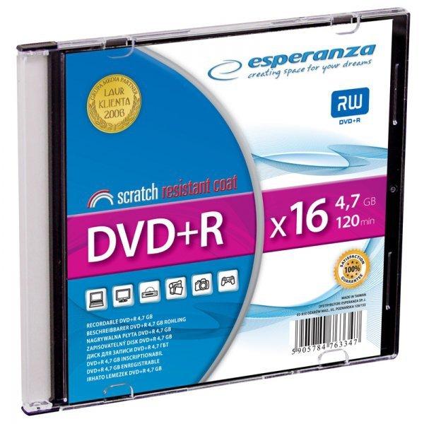 1119 DVD+R 4,7GB X16 - Slim Case 1 sztuka Esperanza