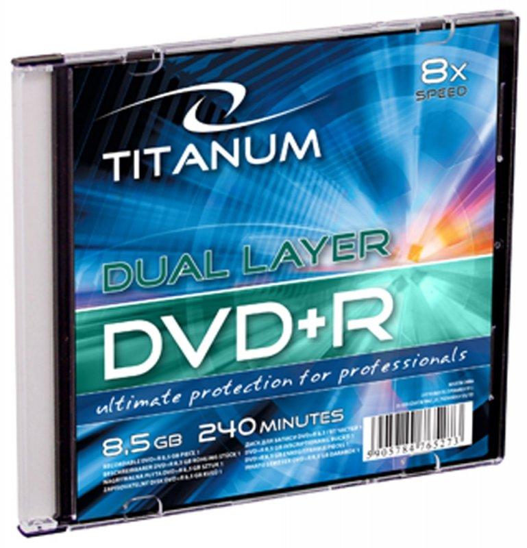 1250 Dvd+r titanum 8,5gb x8 dl - slim case 1 szt.