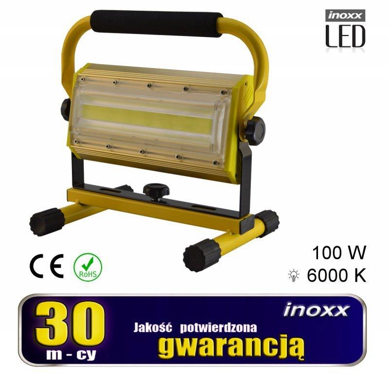 Naświetlacz przenośny led 100w 6000k aku/ 230v