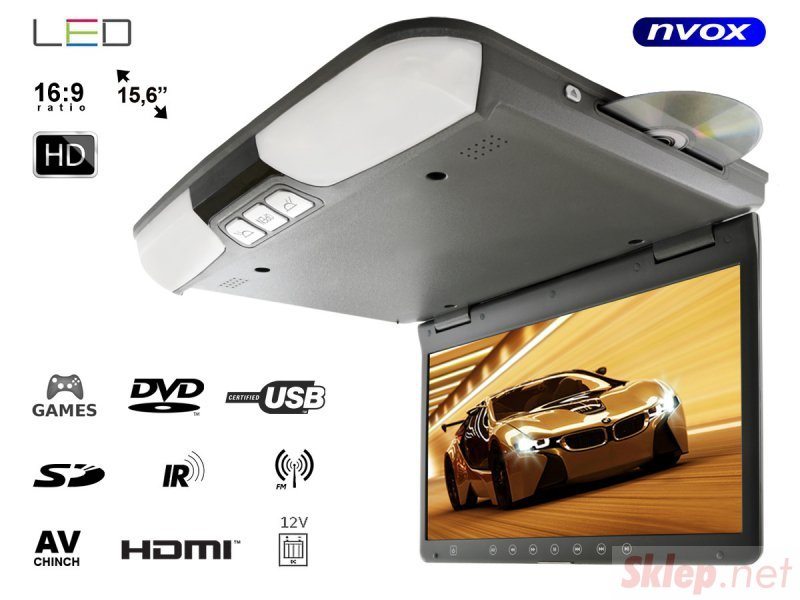Monitor podwieszany podsufitowy LCD 15cali cali DVD USB SD IR FM GRY... (NVOX RF1515D Grey)