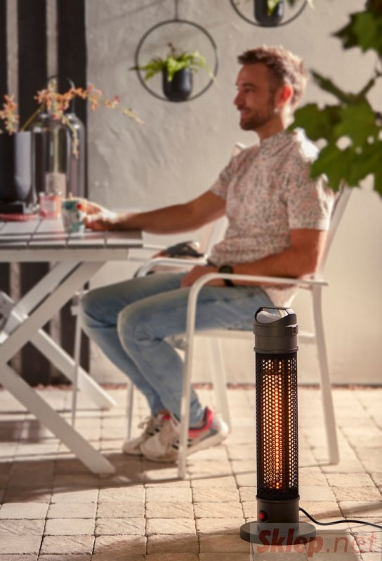 Promiennik stojący 1000W, IP44, element grzejny carbon fiber lamp