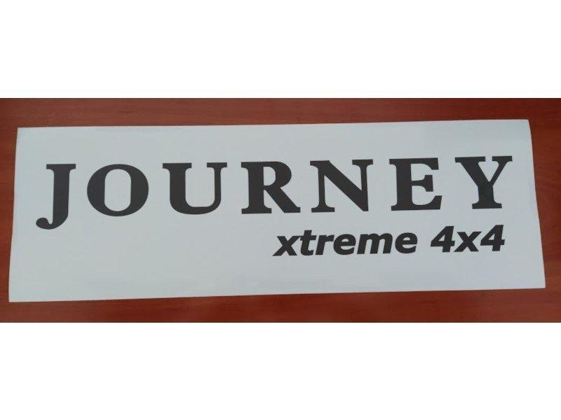 Naklejki JOURNEY białe z czarnym logo rozmiar 60 cm x 20 cm