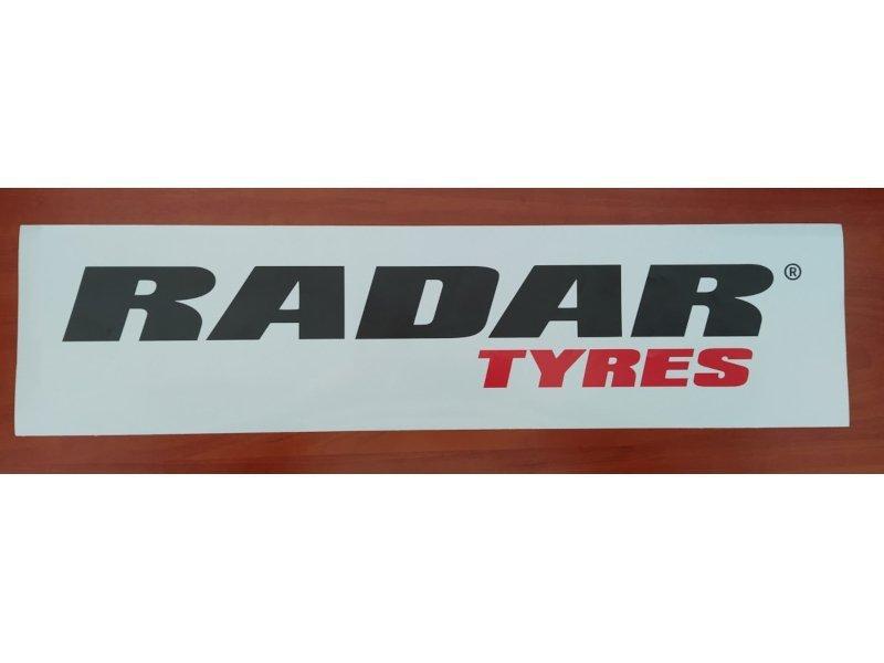 Naklejki RADAR białe z czarno-czerwonym logo rozmiar 60 cm x 15 cm