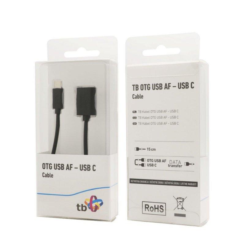 Kabel OTG USB AF - USB C 15cm czarny