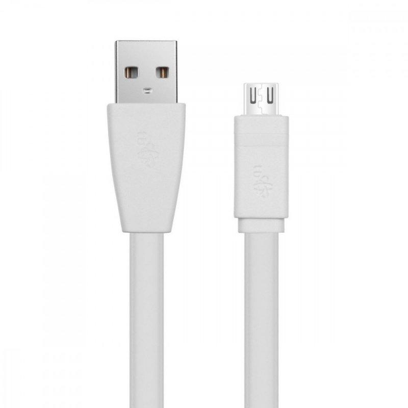 Kabel USB-Micro USB 1m. biały, płaski