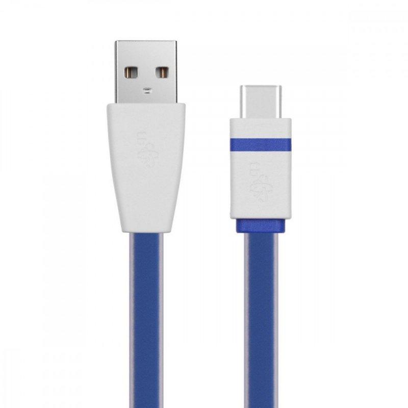 Kabel USB - USB C 1m. niebieski, płaski