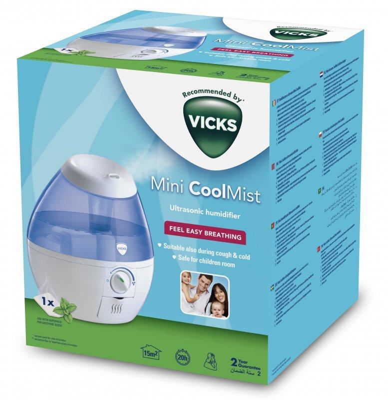 VICKS Mini Cool Mist VUL520 NEW Kompaktowy, ultradźwiękowy nawilżacz powietrza