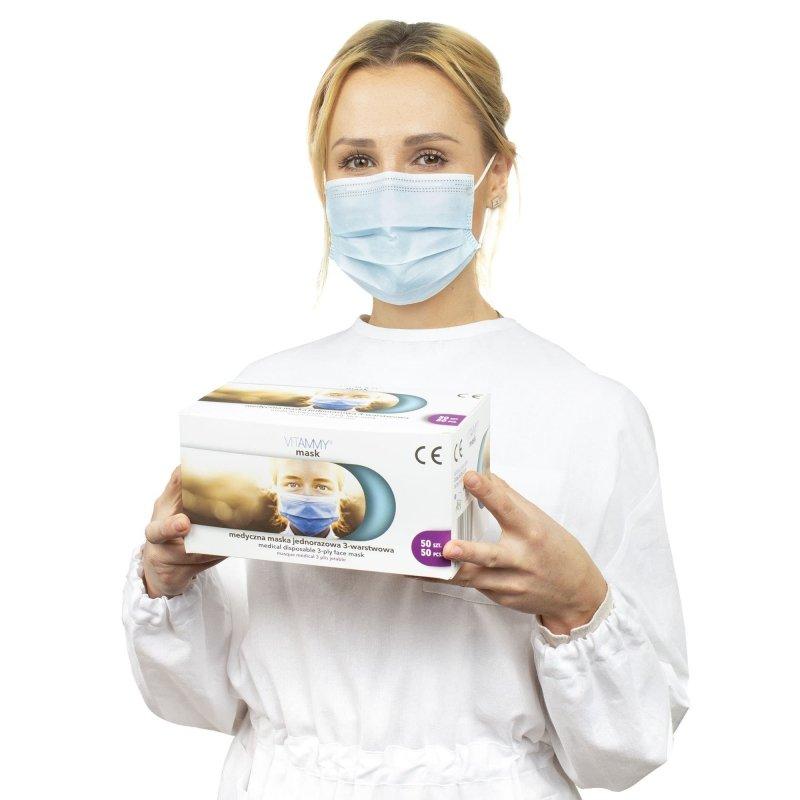 VITAMMY mask S 50 szt. Medyczna maska jednorazowa 3-warstwowa na gumki, zabiegowa TYP II  EN14683