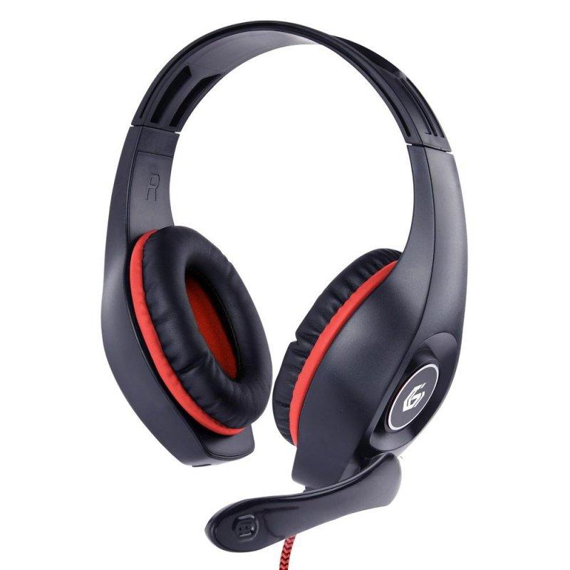 Słuchawki nauszne dla graczy z regulacją głośności PC, PS4, Xbox Gembird (czarno-czerwone)