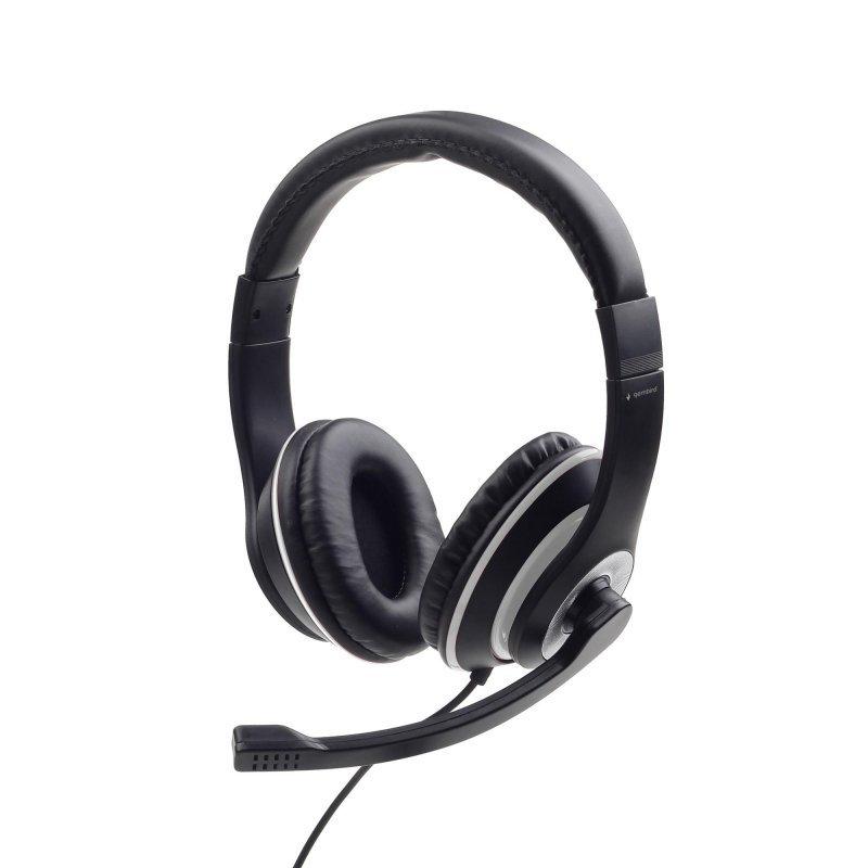 Słuchawki nauszne stereo z mikrofonem na wysięgniku Gembird MHS-03-BKWT