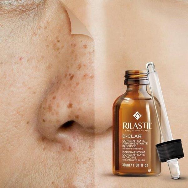 Rilastil, D-Clar, serum wybielające plamy pigmentacyjne, na przebarwienia, 30 ml