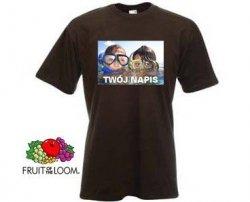 Brązowa koszulka t-shirt z nadrukiem a4