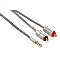 Hama kabel alu-line 2m 3,5 jack wtyk -2x cinch wtyk 808650000