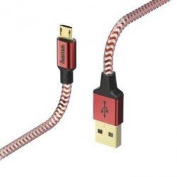 Kabel ładujący/data Reflected - odblaskowy micro usb , 1.5m, czerwony