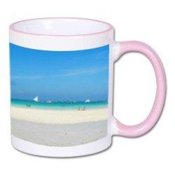 Biały foto kubek z jasnoróżowym środkiem i uchem + twoje zdjęcie