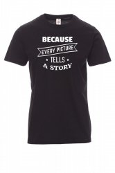 Koszulka z nadrukiem czarna - because every picture tells a story