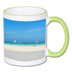 Biały foto kubek z zielonym środkiem i uchem + twoje zdjęcie