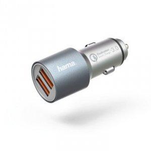 Ładowarka samochodowa Qualcomm® Quick Charge 3.0 srebrna - Hama