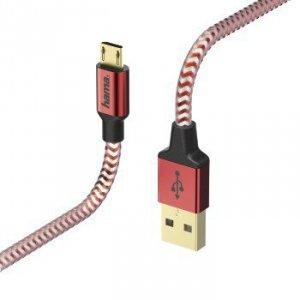 Kabel ładujący/data Reflected - odblaskowy Micro USB 1.5m czerwony - Hama